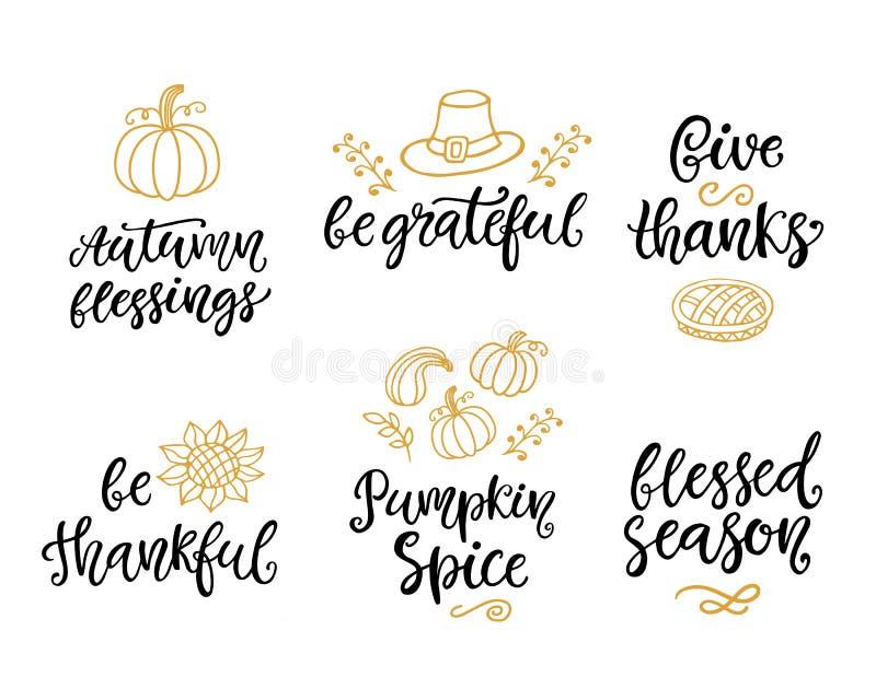 De herfst en van de Thanksgiving dayhand geschreven die het van letters voorzien en krabbel reeks, op wit wordt geïsoleerd stock illustratie