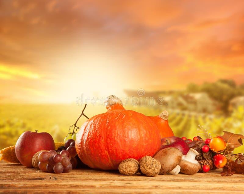 De herfst geoogste fruit en groente op hout royalty-vrije stock afbeelding