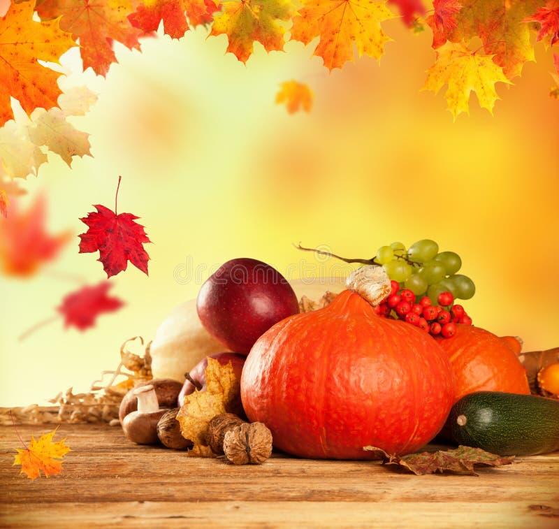 De herfst geoogste fruit en groente op hout royalty-vrije stock fotografie