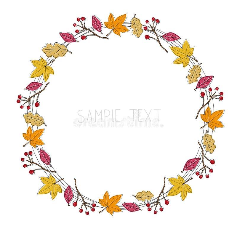 De herfst gevoelig kader van bladeren, decoratieve elementen, en het van letters voorzien Vector illustratie stock illustratie