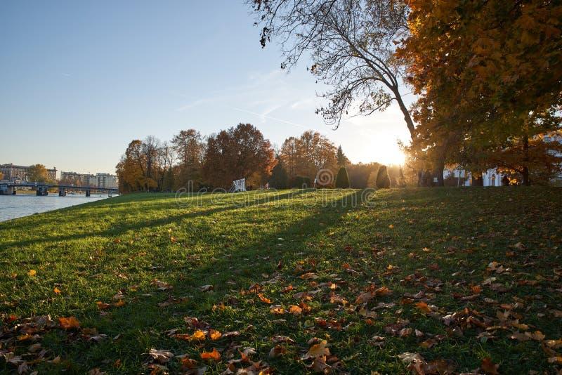 De herfst in heilige-Petersburg, mooi stadspark dichtbij het meer De herfstlandschap van zonnig park onder zonneschijn royalty-vrije stock afbeeldingen