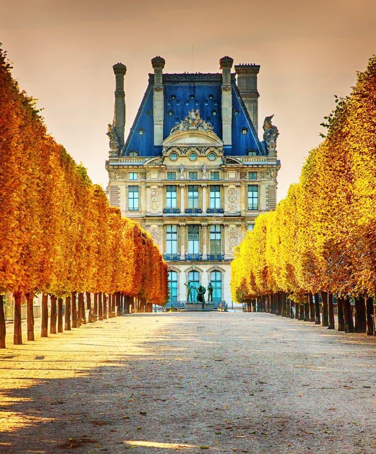 De herfst in het Louvremuseum van Parijs royalty-vrije stock foto's