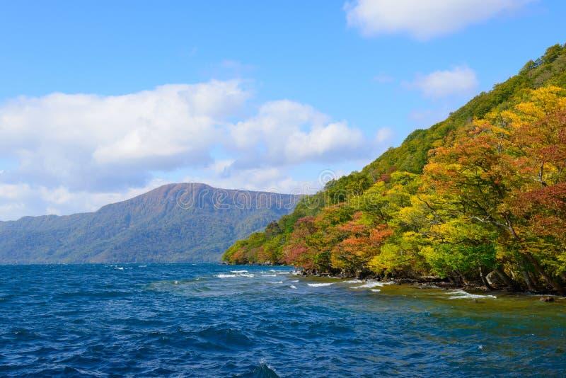 De herfst in het Meer Towada stock afbeelding