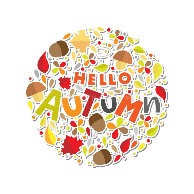 De herfst het van letters voorzien met botanisch element royalty-vrije illustratie