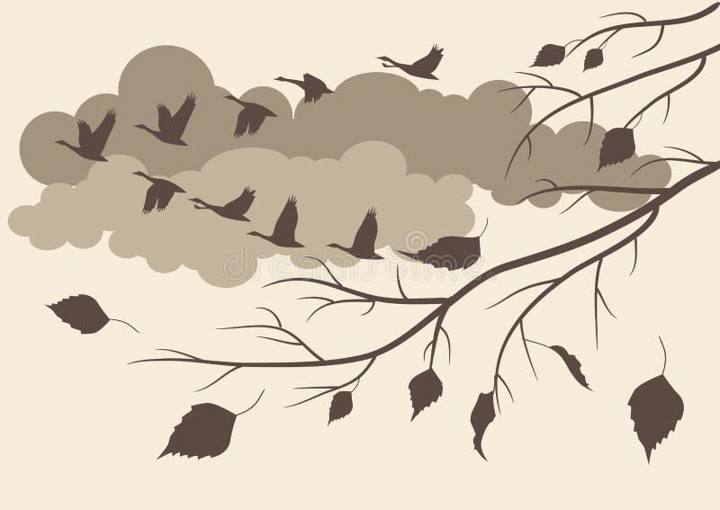 De herfst. het zuiden van de vogelsvlieg royalty-vrije illustratie