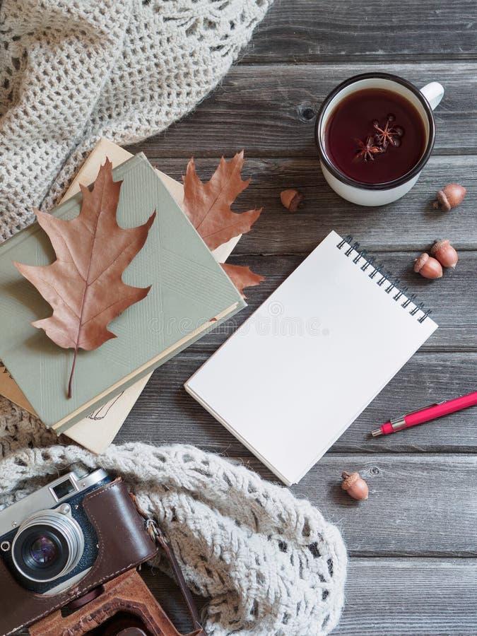 De herfst houten lijst gebreide sjaal als achtergrond, camera, eiken bladerenblocnote stock fotografie