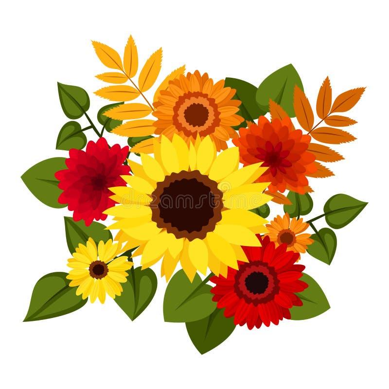 De herfst kleurrijke bloemen. royalty-vrije illustratie