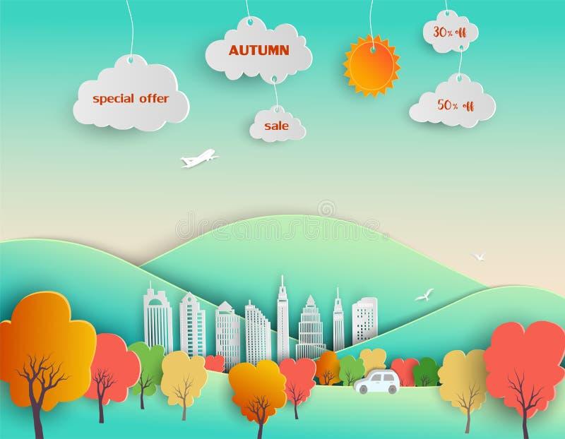 De herfst komt met de achtergrond van het stadslandschap, voor affiche, vlieger, malplaatje, website, reclame, bevordering of onl vector illustratie