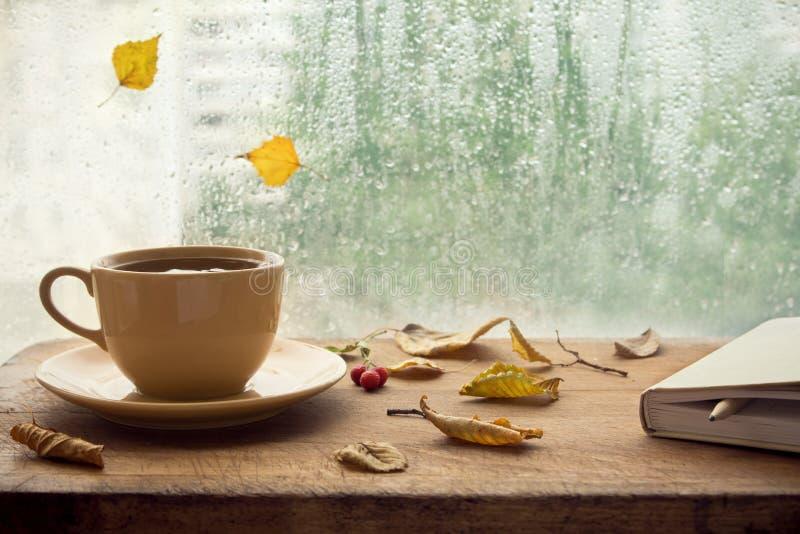 De herfst Kop thee en notaboek royalty-vrije stock afbeeldingen