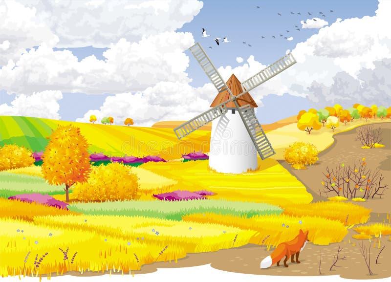 De herfst landelijk landschap stock illustratie