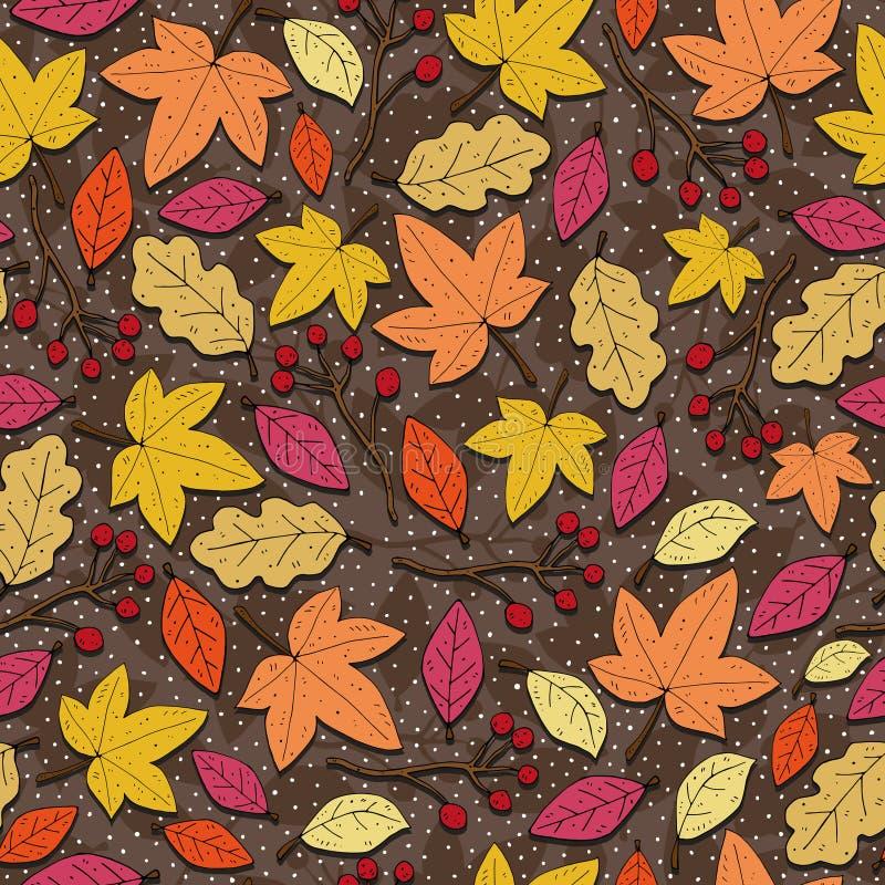 De herfst naadloos seizoengebonden patroon met bladeren, decoratieve elementen op een neutrale achtergrond Vector stock illustratie