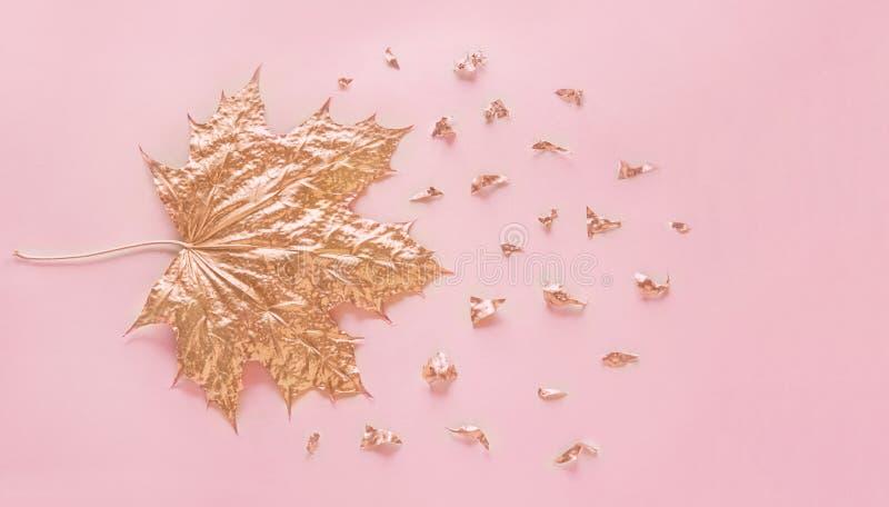 De herfst nam gouden esdoornblad met elementencrumbs op pastelkleur roze document achtergrond toe Minimaal creatief concept met r royalty-vrije stock afbeeldingen