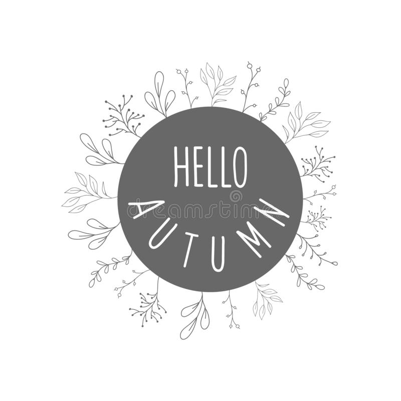 De herfst om kader met bloemen Een vectorkader in de stijl van een krabbel De herfst van inschrijvingshello stock illustratie