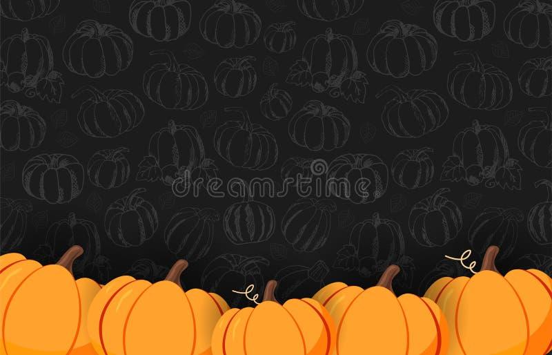 De herfst op de donkere achtergrond met hand-trekt Pompoenen Thanksgiving day Voor het winkelen verkoop, promoaffiche en kaderpam royalty-vrije illustratie