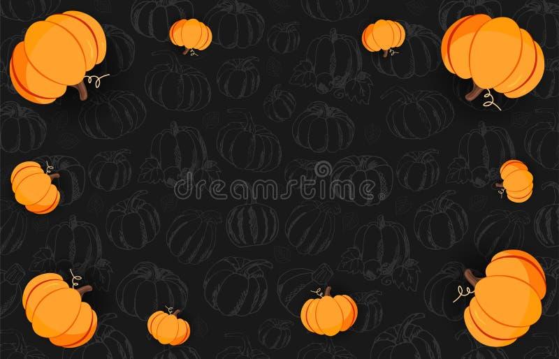 De herfst op de donkere achtergrond met hand-trekt Pompoenen Thanksgiving day Voor het winkelen verkoop, promoaffiche en kaderpam stock illustratie