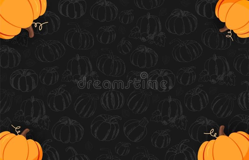 De herfst op de donkere achtergrond met hand-trekt Pompoenen Thanksgiving day Voor het winkelen verkoop, promoaffiche en kaderpam vector illustratie