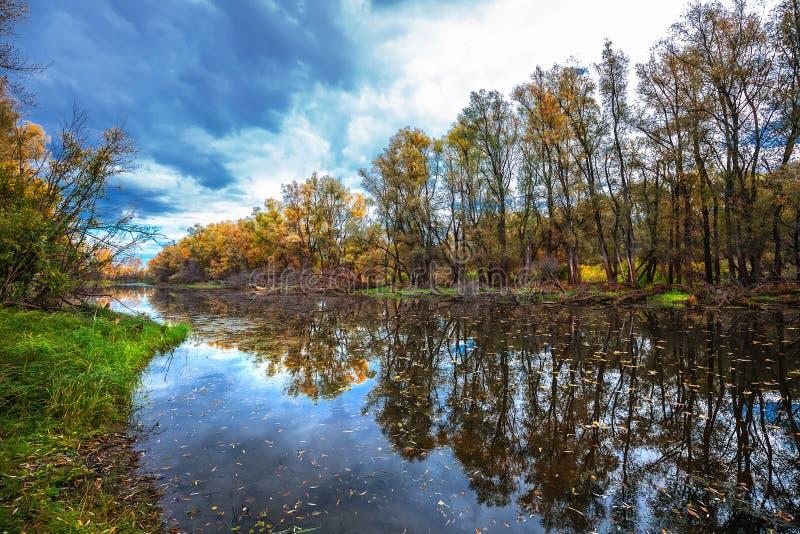 De herfst op rivier Westelijk Siberië stock afbeeldingen
