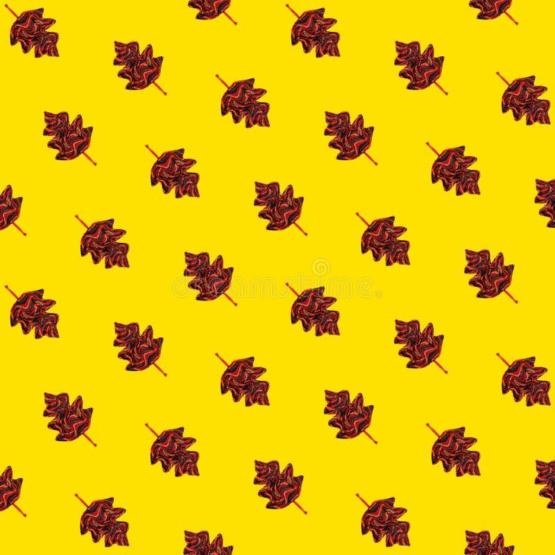 De herfst patroon-gele achtergrond met de herfstbladeren royalty-vrije stock foto
