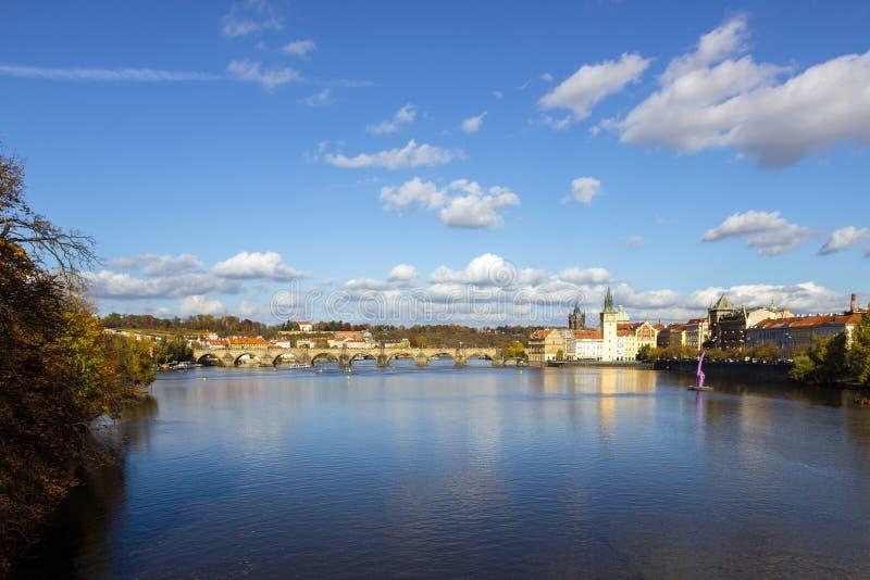 De herfst in Praag, Tsjechische Republiek, Europa royalty-vrije stock foto's