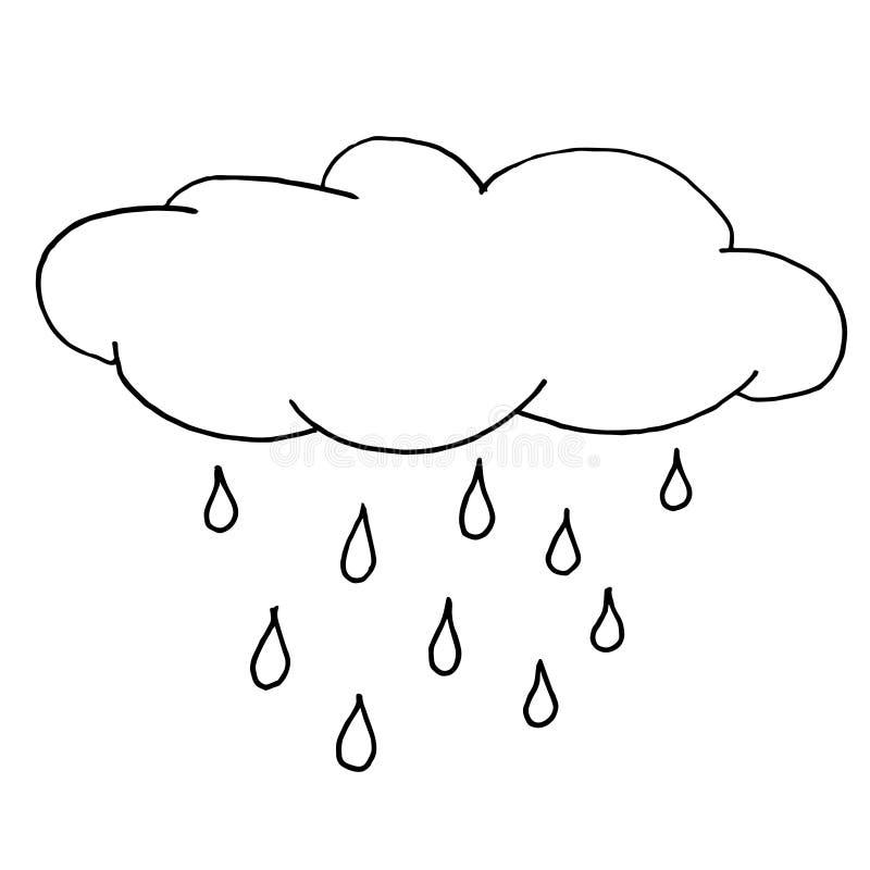 De herfst regenachtige wolk Zwart-wit schets, handtekening Zwart overzicht op witte achtergrond Vector illustratie royalty-vrije illustratie
