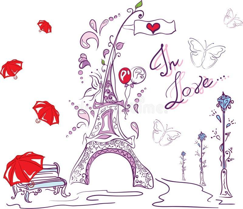 De herfst romantisch Parijs vector illustratie