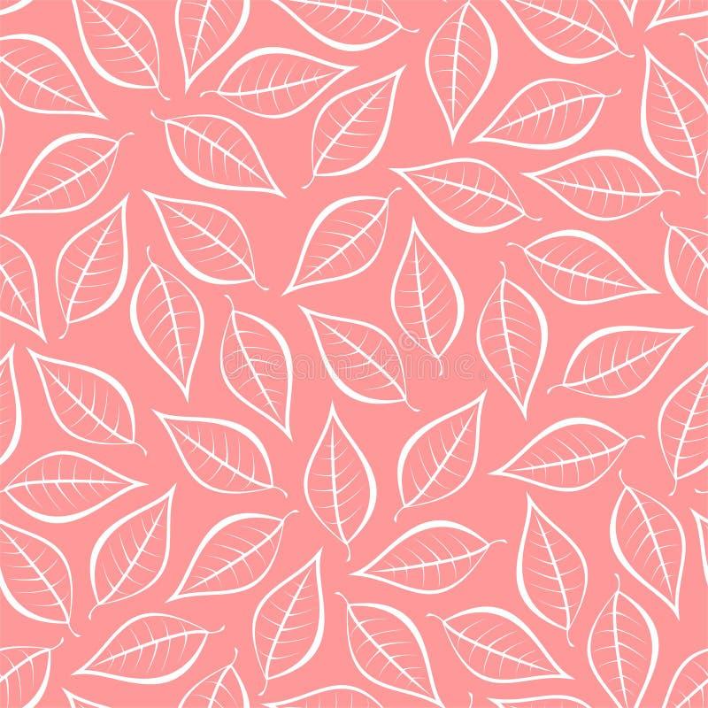 De herfst roze natuurlijke achtergrond van contouren van witte bladeren Naadloze decoratieve ecoachtergrond Milieupatroon met blo vector illustratie