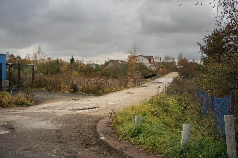 De herfst in Russisch dorp royalty-vrije stock foto's