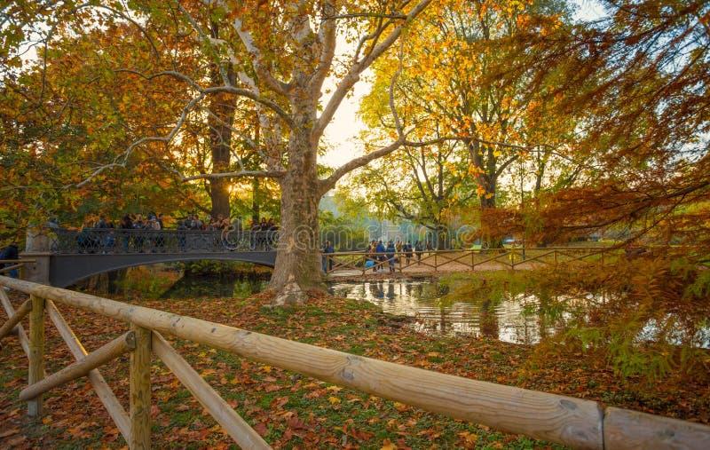De herfst in Sempione-Park in Milaan, Italië stock foto