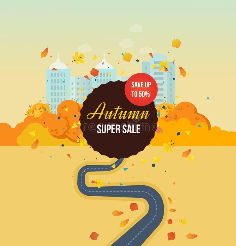 De herfst super verkoop, sparen omhooggaand, speciale aanbiedingen, kortingen De herfstpark vector illustratie