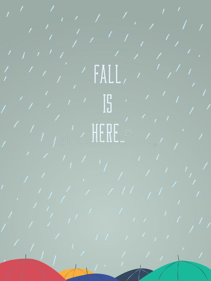 De herfst van dalings vectorillustratie van een paraplu bedekt op bezige straat Seizoengebonden afficheontwerp royalty-vrije illustratie