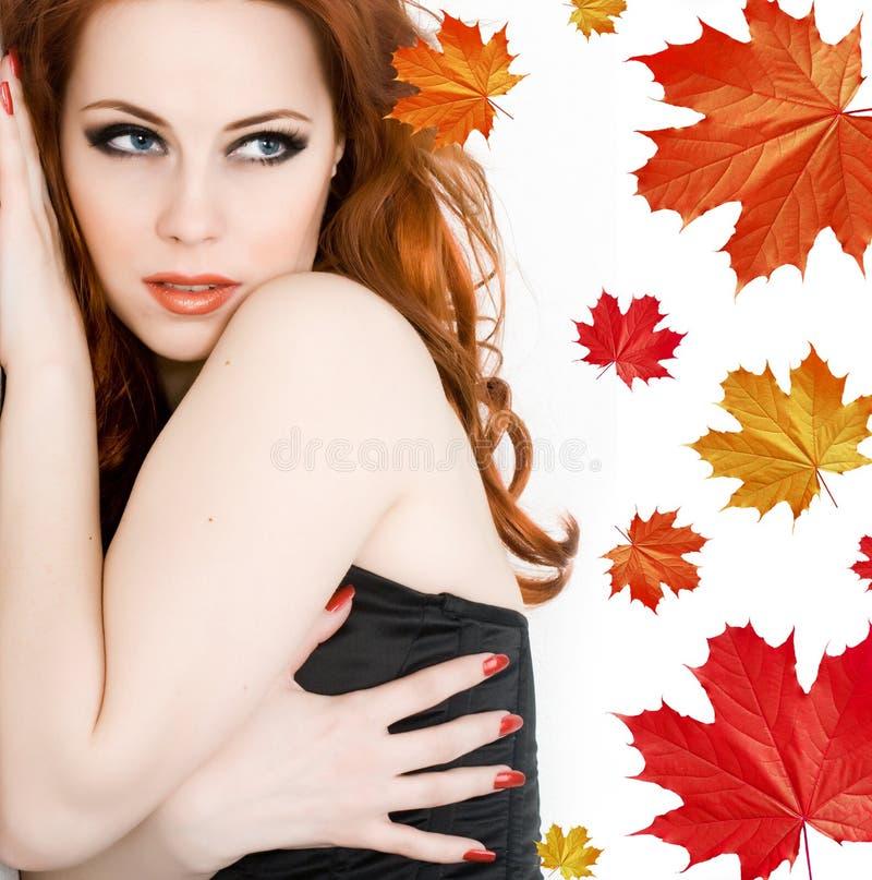 De herfst van de dame stock afbeelding