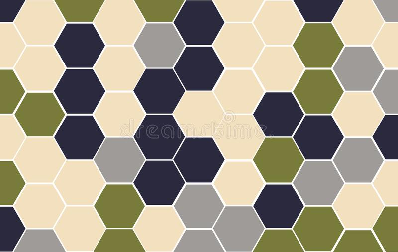 De herfst van/de Winter van 2019/2020, de toon van het kleurenpalet Van de tegel willekeurige achtergrond van het Honingraatnet v vector illustratie