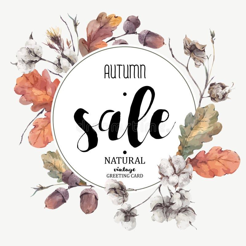 De herfst vector uitstekende katoenen bloem, verkoopkaart vector illustratie