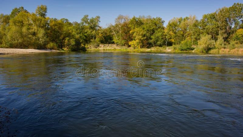 De herfst vergankelijk bos en rivier op een zonnige dag Verbazend landschap stock fotografie