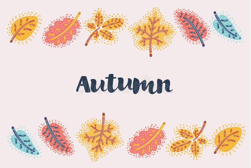 De herfst verlaat dalend kader vector illustratie