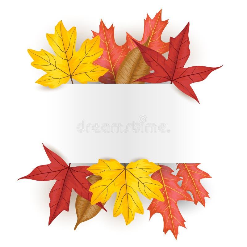 De herfst verlaat gevallen bladerenachtergrond vectorillustratie royalty-vrije illustratie
