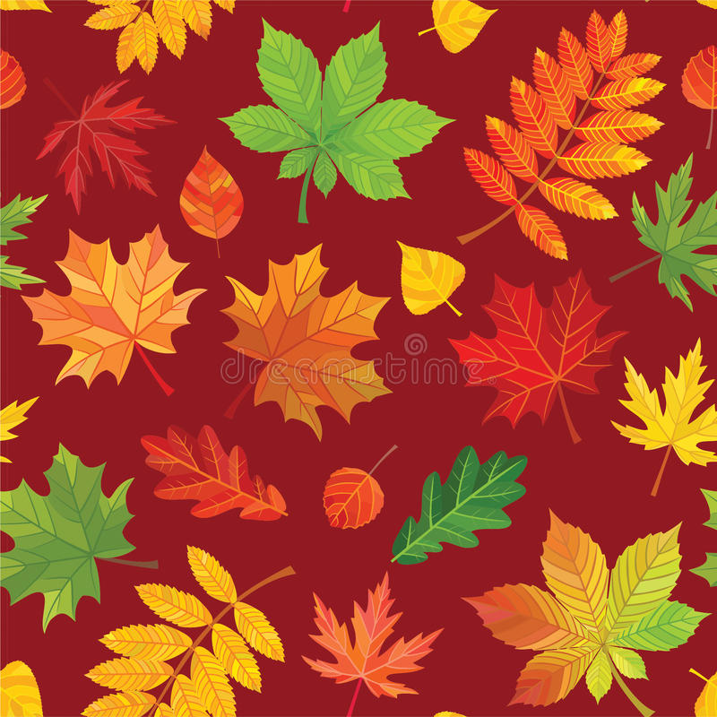 De herfst verlaat Patroon Vector naadloze textuur stock illustratie