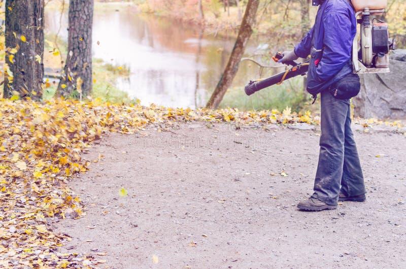In de herfst verwijdert de parkarbeider de weg uit de gevallen bladeren met hulp royalty-vrije stock foto's