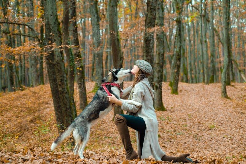De herfst womanin park Het mooie jonge vrouw spelen met grappige schor hond in openlucht bij park De herfsttijd, November stock afbeelding