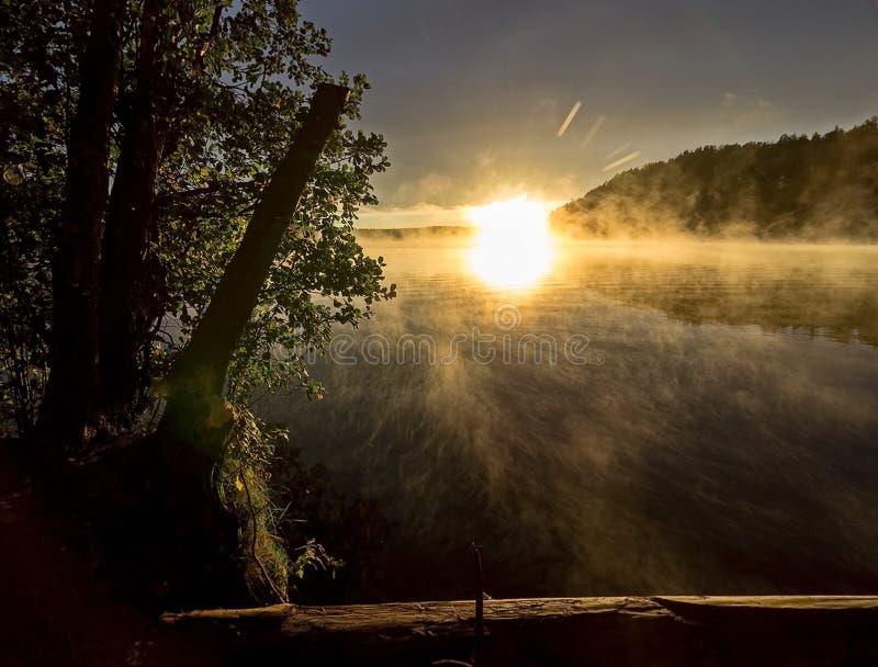 De herfst zonsopgang op de rivier De schoonheid van zonsopgang Rivier tegen de zonsopgang Vroege ochtend, mist over het water stock foto