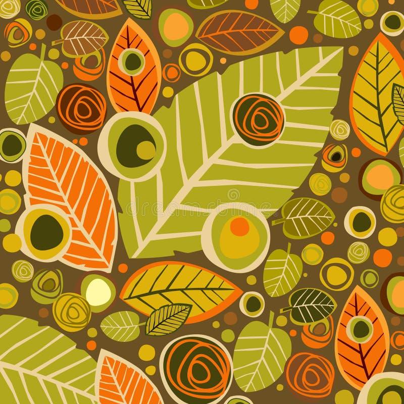 De herfstachtergrond met bladeren en bloem vector illustratie