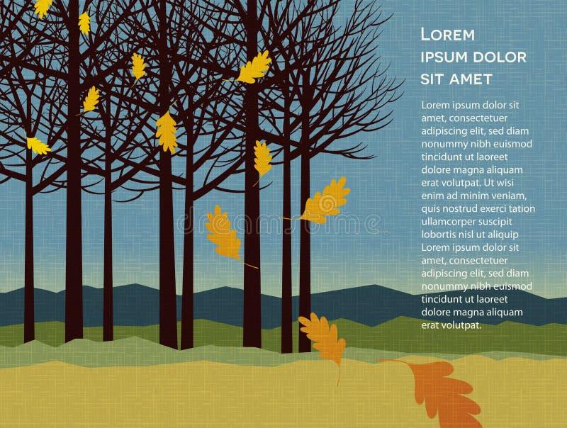 De herfstachtergrond met bomen en dalende bladeren stock illustratie