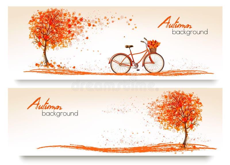 De herfstachtergrond met een boom en een fiets royalty-vrije illustratie