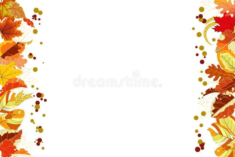 De herfstachtergrond met een grens van kleurrijke gevallen bladeren op wit vector illustratie