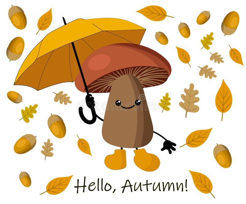 De herfstachtergrond met gele bladeren en paraplu van de regen De herfstpaddestoel stock illustratie