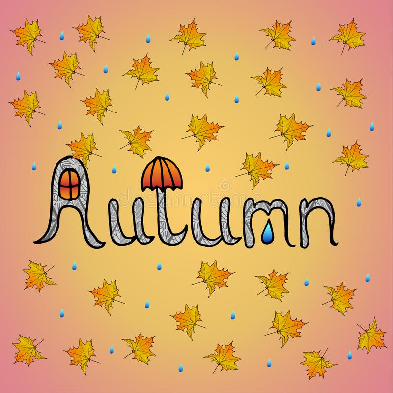 De herfstachtergrond met hand getrokken de herfstwoord en gele esdoornbladeren en regendalingen op roze achtergrond royalty-vrije illustratie