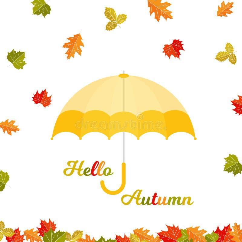 De de herfstachtergrond met de herfst doorbladert royalty-vrije illustratie