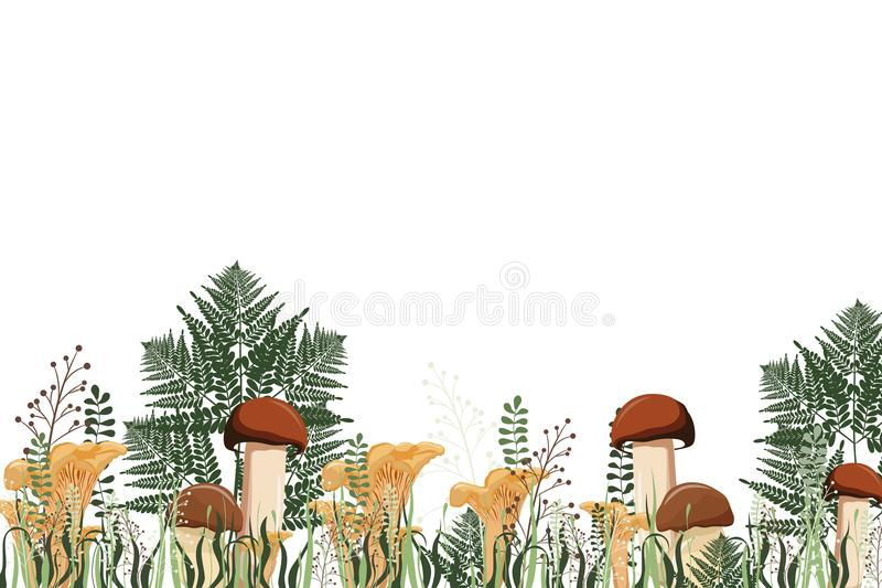 De herfstachtergrond met paddestoelen en kruiden Vector illustratie vector illustratie
