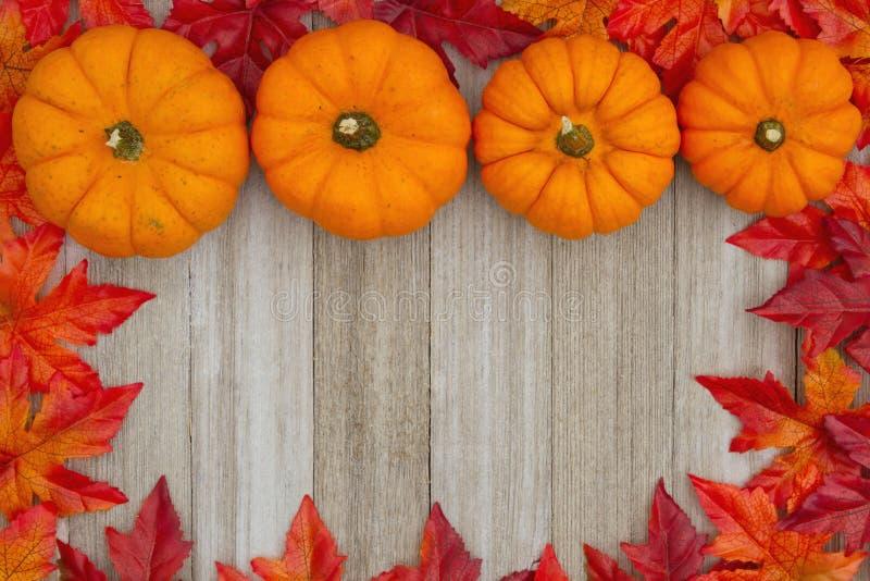 De de herfstachtergrond met pompoenen en de dalingsbladeren op doorstaan streven na stock fotografie
