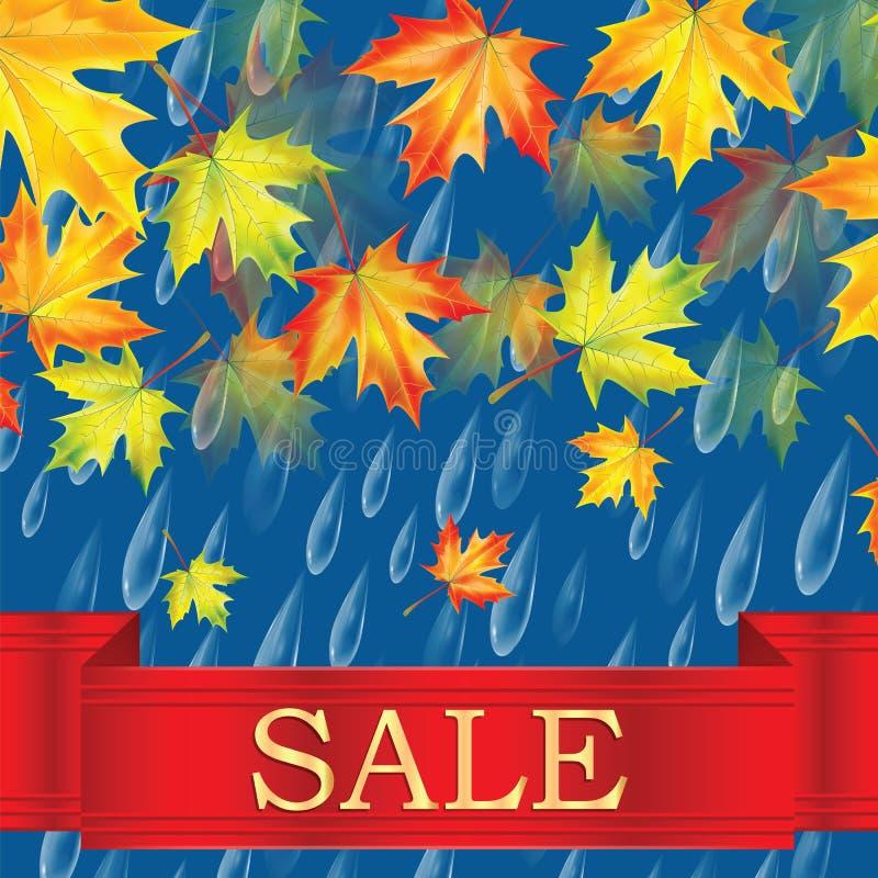 De herfstbanner met regendruppels en bladeren van esdoorn royalty-vrije illustratie